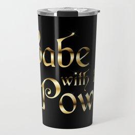Labyrinth Babe With The Power (black bg) Travel Mug