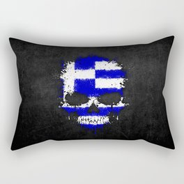 Flag of Greece on a Chaotic Splatter Skull Rectangular Pillow