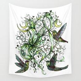 Hummingbird Garden Party Wall Tapestry