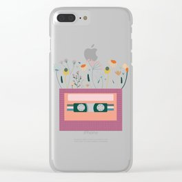 Magenta Botanical Cassette tape Clear iPhone Case