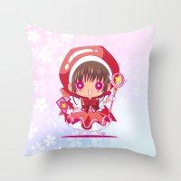 chibi Throw Pillows featuring Chibi Sakura by Neo Crystal Tokyo