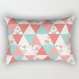 Triangle quilt pattern cute florals dots cheater quilt blanket quilter must have cute baby shower  Rectangular Pillow