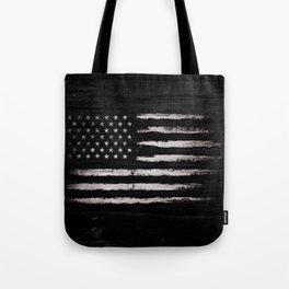 American flag White Grunge Tote Bag