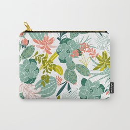 Succulent Garden White Carry-All Pouch