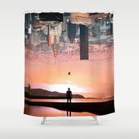 cityscape Shower Curtains featuring Cityscape by Enkel Dika
