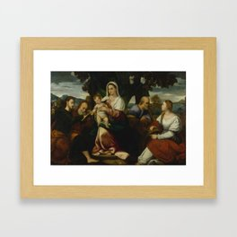Bonifacio de Pitati called Bonifazio Veronese and Workshop   1487 - 1553   HOLY FAMILY WITH SAINTS J Framed Art Print