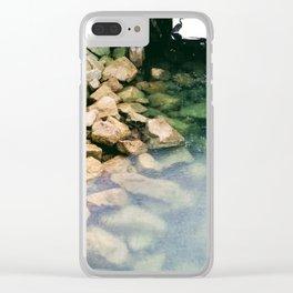 Crane in the Rain Clear iPhone Case