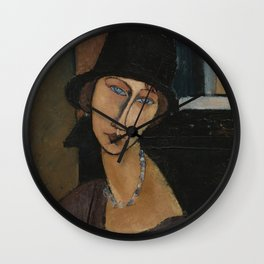 Modigliani - Jeanne Hebuterne With Hat And Necklace Wall Clock