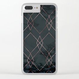 Modern Deco Rose Gold and Marble Geometric Dark Clear iPhone Case