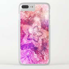 Pink Sparkle Star Clear iPhone Case