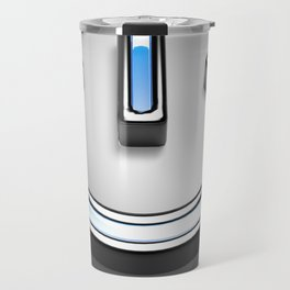 Start symbol for technology with blue light - 3D rendering Travel Mug