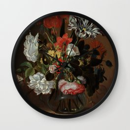 "Jacob Marrel ""Flowers in a glass vase"" Wall Clock"