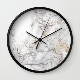 Champagne Rose Gold Blush Metallic Glitter Foil on Grey Marble Wall Clock