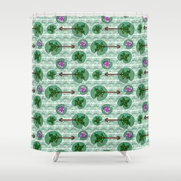 Origami Flycatcher Frogs Shower Curtain