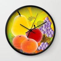 fruit Wall Clocks featuring Fruit by Ramon J Butler-Martinez