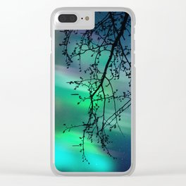 Tree Branch and Aurora Borealis Night Sky Clear iPhone Case