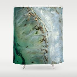 Marble teal & gold ocean Shower Curtain