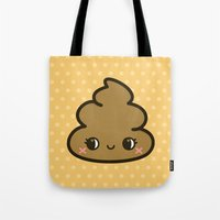 poop Tote Bags featuring Cutey poop by Holly