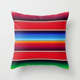 Traditional Mexican Serape in Red Multi Throw Pillow