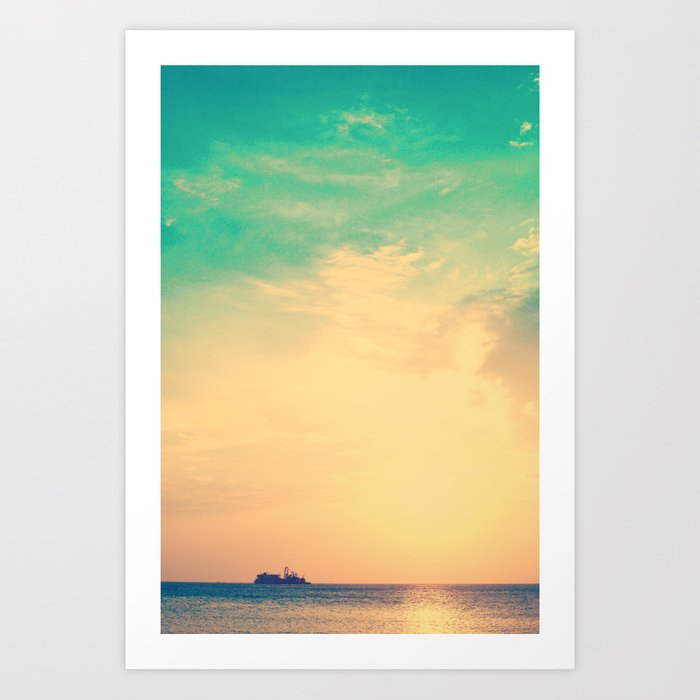 Ship in the beach on the sunset, and vintage turquoise sky Art Print