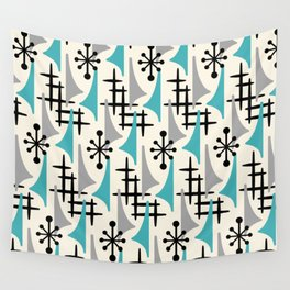 Mid Century Modern Atomic Wing Composition Blue & Grey Wall Tapestry