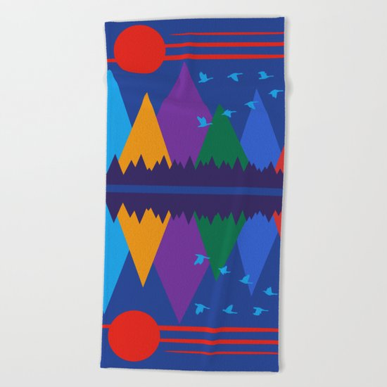 Moon Over The Mountains #7 Beach Towel
