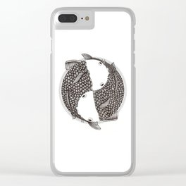 Pisces - Fish Koi - Japanese Tattoo Style (black and white) Clear iPhone Case