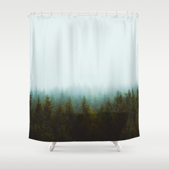 Landscape Pine Forest Green Evergreen Trees Minimalist Simple Shower Curtain