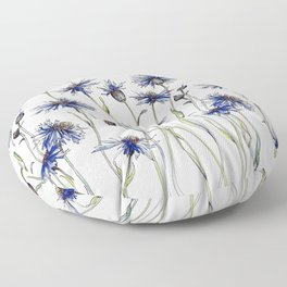 Blue Cornflowers, Illustration Floor Pillow