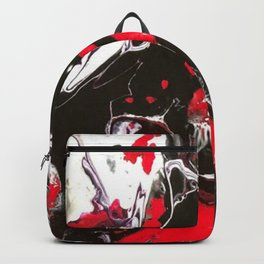 Drama with black, white, and red. Backpack