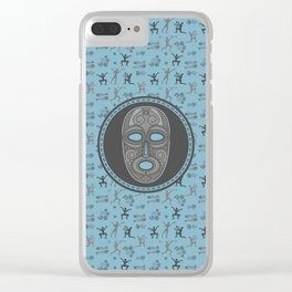 Aboriginal Mask and pattern - Pastel Blue and grey Clear iPhone Case