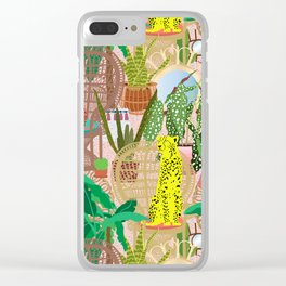 Maximalist Rattan Cheetah Chairs + Mirrors in Pink Terrazzo Clear iPhone Case