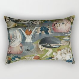 Hieronymus Bosch - The Garden of Earthly Delights - Medieval Oil Painting Rectangular Pillow