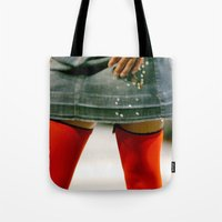 socks Tote Bags featuring Red Socks by Premium