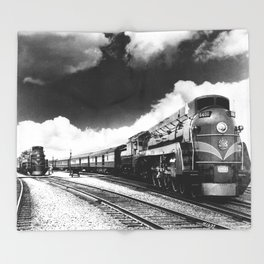 CN Trains pulling Royal Tour cars -Trains du CN tirant les voitures de la tournée royale  Throw Blanket