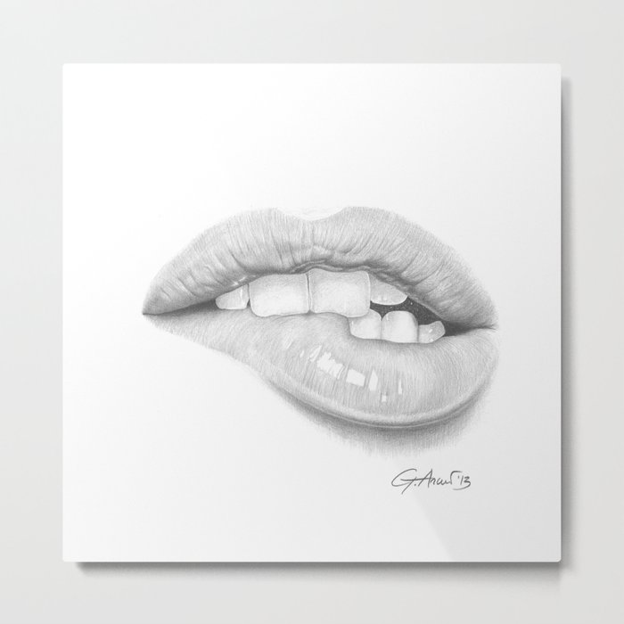 Desiderio / Desire - Lip Bite - Mouth Metal Print