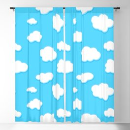 sky of blue and fluffly white clouds Blackout Curtain