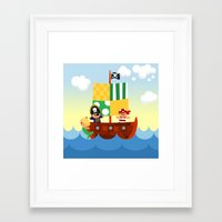 pirate ship Framed Art Prints featuring pirate ship by Alapapaju