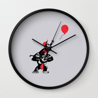 planet of the apes Wall Clocks featuring Balloon Apes by merimeaux