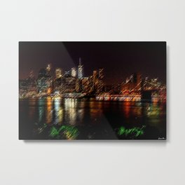 Manhattan City Lights Night Scene Landscape Painting by Jeanpaul Ferro Metal Print