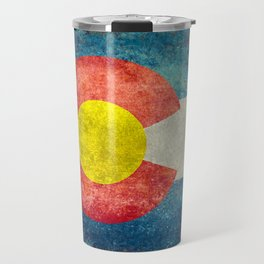 Colorado State Flag in Vintage Grunge Travel Mug