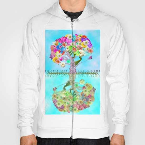Cute Whimsical Bright Floral Tree Collage Teal Sky Hoody