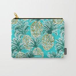 AQUA PINEAPPLE O'CLOCK Tropical Hawaiian Watercolor Carry-All Pouch