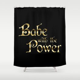 Labyrinth Babe With The Power (black bg) Shower Curtain