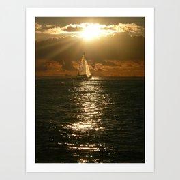 Honolulu Sunset Sail Art Print
