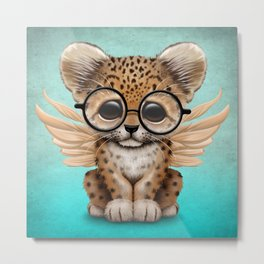 Cute Leopard Cub Fairy Wearing Glasses on Blue Metal Print