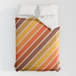 Retro Diagonal Stripes in Orange Ombre Comforters