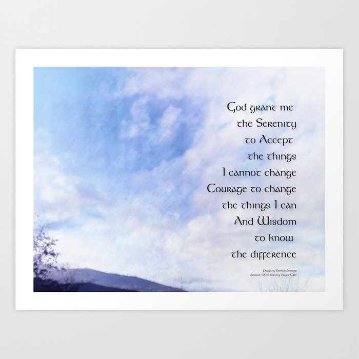 photograph regarding Serenity Prayer Printable known as Serenity Prayer Blue Sky Smooth Clouds Artwork Print through relaxation_presents