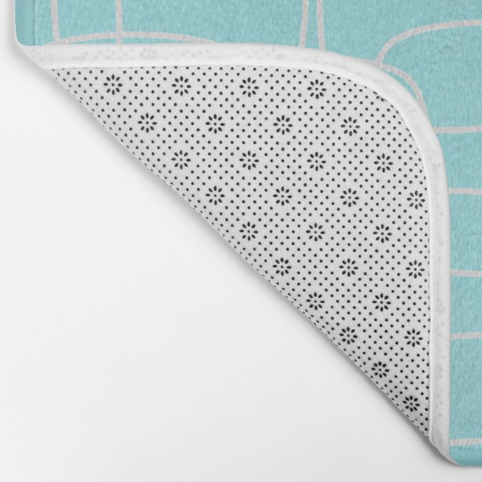 Square Pattern Mint Bath Mat