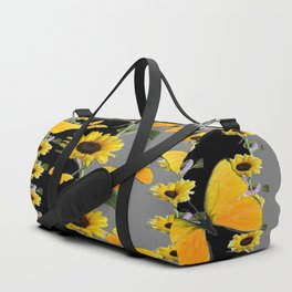 YELLOW BUTTERFLIES & SUNFLOWERS ART PANELS Duffle Bag